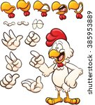 Cartoon Chicken With Different...