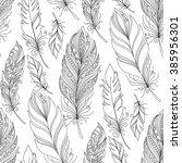 vector seamless monochrome... | Shutterstock .eps vector #385956301