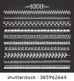 set of hand drawn border doodle ... | Shutterstock . vector #385962664
