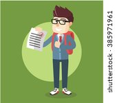 boy score exam | Shutterstock .eps vector #385971961