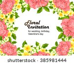 abstract flower background with ... | Shutterstock . vector #385981444
