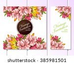 abstract flower background with ... | Shutterstock .eps vector #385981501