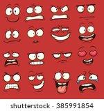 Funny Cartoon Faces. Vector...