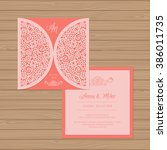 wedding invitation or greeting... | Shutterstock .eps vector #386011735