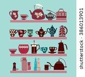 vector illustration set of tea ...   Shutterstock .eps vector #386013901