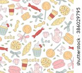 seamless pattern of delicious... | Shutterstock .eps vector #386029795
