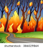Disaster Scene Of Forest Fire...