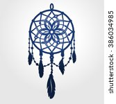 vector dream catcher silhouette ... | Shutterstock .eps vector #386034985