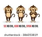 three monkeys. see no evil ... | Shutterstock .eps vector #386053819