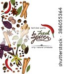 fresh spice poster on white... | Shutterstock .eps vector #386055364