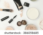 top view of different cosmetics ... | Shutterstock . vector #386058685