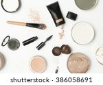 top view of different cosmetics ... | Shutterstock . vector #386058691