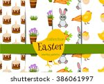 happy easter seamless pattern... | Shutterstock .eps vector #386061997