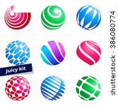 set of colorful vector logotype ... | Shutterstock .eps vector #386080774