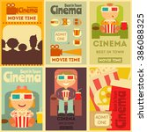 cinema mini posters set. movie... | Shutterstock .eps vector #386088325