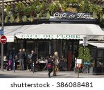 Small photo of paris, France-February 27, 2016 : The cafe De Flore is one of the oldest cafe in Paris, located in 6th arrondissement.It was associated with Jean Paul Sartre, , Albert Camus, Pablo Picasso...