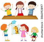 boys and girls learning at... | Shutterstock .eps vector #386092897