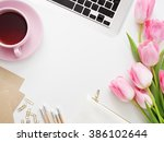 desktop workplace designer ... | Shutterstock . vector #386102644