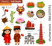travel to vietnam. set of... | Shutterstock .eps vector #386105551