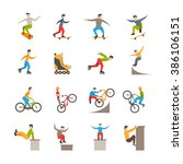 urban sport icons with people | Shutterstock . vector #386106151