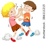 two boy fighting each other... | Shutterstock .eps vector #386111215