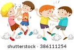 boys fighting and getting hurt... | Shutterstock .eps vector #386111254