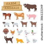 Domestic Farm Animals Flat...