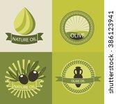 set of olive oil logos for... | Shutterstock .eps vector #386123941