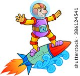 rocket surfer  | Shutterstock .eps vector #386124541