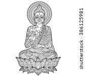 gautam buddha coloring page... | Shutterstock .eps vector #386125981