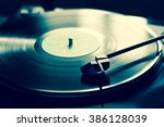 vintage record player with... | Shutterstock . vector #386128039