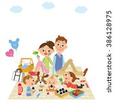 parents and children go on a... | Shutterstock .eps vector #386128975