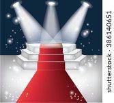 red carpet with dark background  | Shutterstock .eps vector #386140651