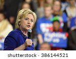 Small photo of NEW YORK CITY - MARCH 2 2016: Hillary Clinton affirmed her status as front-runner for the Democratic presidential nominations with a speech at Jacob Javits Center