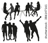 people together silhouettes  | Shutterstock .eps vector #386147161