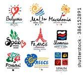 europe logo. logo europe  spain ... | Shutterstock .eps vector #386152891