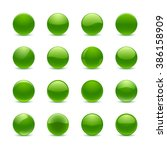 set of green round buttons | Shutterstock .eps vector #386158909
