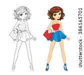 coloring book vector... | Shutterstock .eps vector #386165701