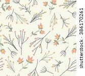 floral vector pattern. seamless ... | Shutterstock .eps vector #386170261