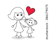 mother and child with a red... | Shutterstock .eps vector #386179075