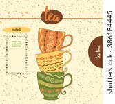 cute sketched tea cups for menu ... | Shutterstock .eps vector #386184445