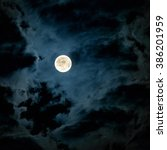 Mysterious Night Sky With Full...
