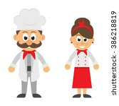 cartoon man and woman chef... | Shutterstock .eps vector #386218819