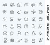 Thin Line Web Icon Set   Money...