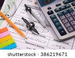 mathematics  equations close up.... | Shutterstock . vector #386219671