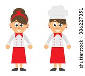 cartoon woman chef vector set | Shutterstock .eps vector #386227351