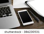 modern laptop  tablet  mobile... | Shutterstock . vector #386230531