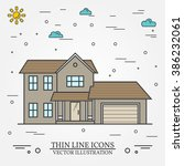 vector thin line icon  suburban ... | Shutterstock .eps vector #386232061