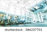 wireframe computer cad design... | Shutterstock . vector #386237701