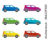 car set in flat style. vehicle... | Shutterstock . vector #386239585